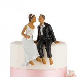 Figurine Couple de Mariés assis - Éthnique