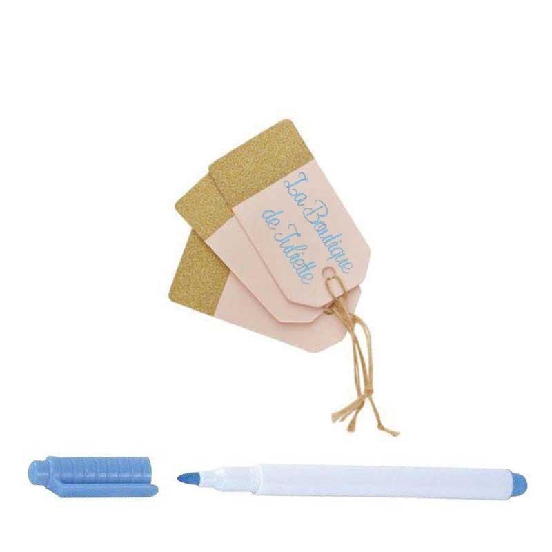 Etiquette glitter ivoire (x10)
