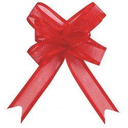 Noeuds automatique Organdi (x5) - Rouge
