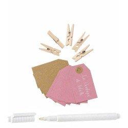 Kit mini-pinces et étiquettes roses/kraft