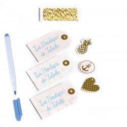 Étiquettes roses et dorées (x60)