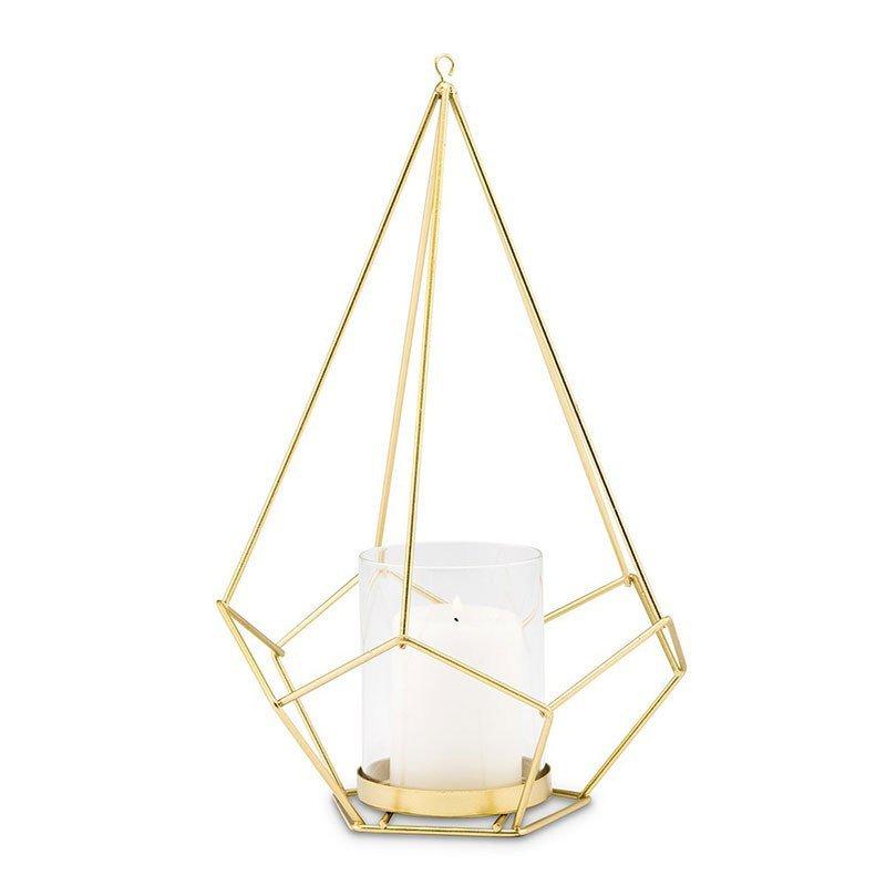 Photophore géométrique métal doré - 26,5 cm