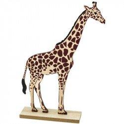Girafe sur socle en bois - 27.5 cm