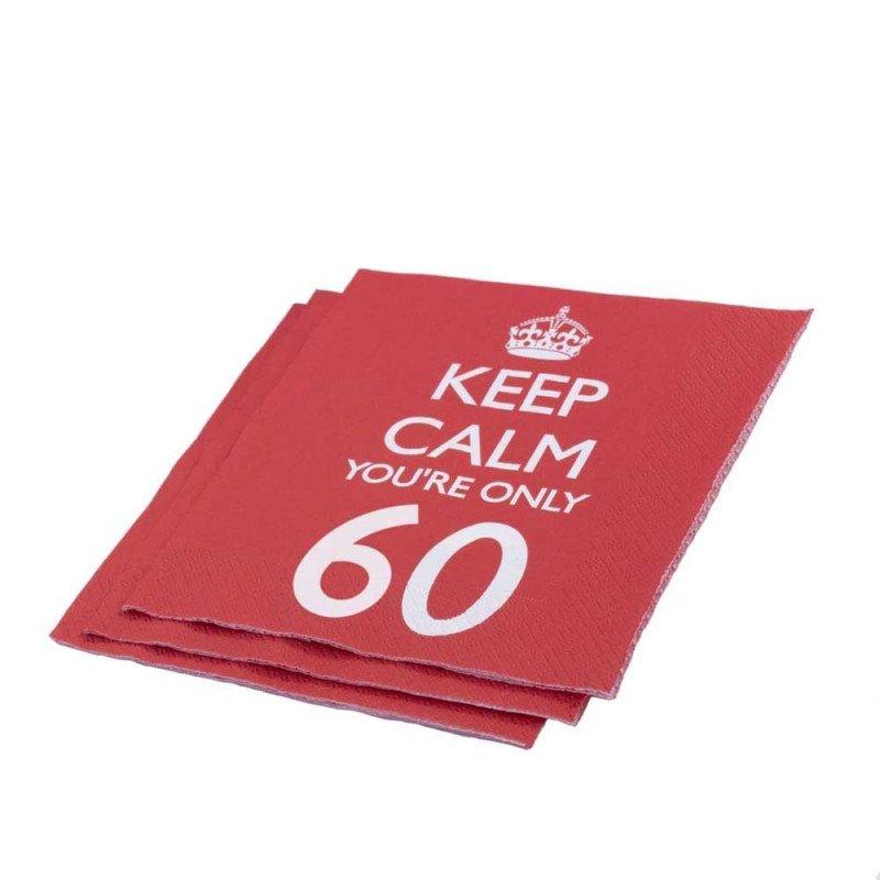 """Serviettes 60 Ans """"Keep Calm You're Only 60"""" -20 Unités"""