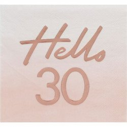 """Serviettes """"30 ans"""" Rose Gold (x16)"""