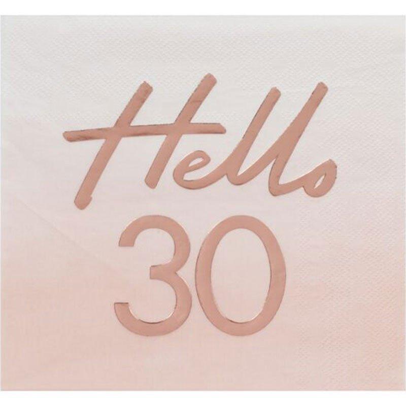 "16 Serviettes ""Hello"" 30 ans"