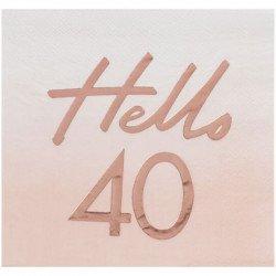 """Serviettes """"40 ans"""" Rose Gold (x16)"""