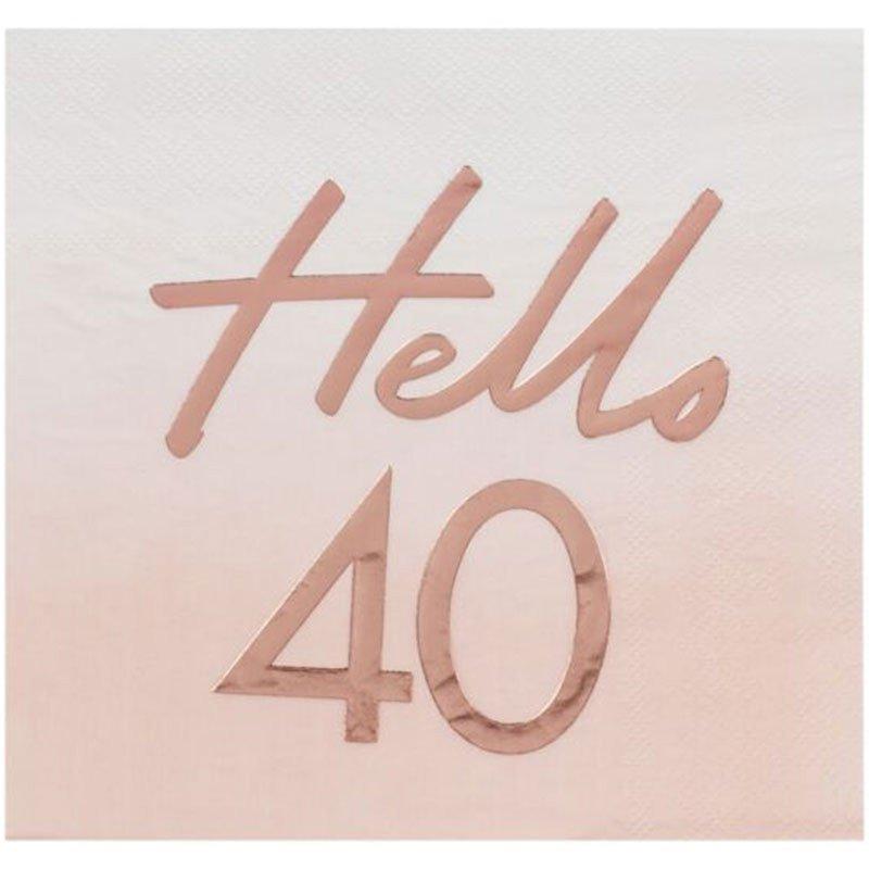 16 Serviettes 40 ans rose gold