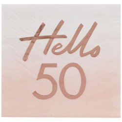 "16 Serviettes ""Hello"" 50 ans"