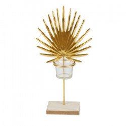 Bougeoir Feuille de palme dorée - 32 cm