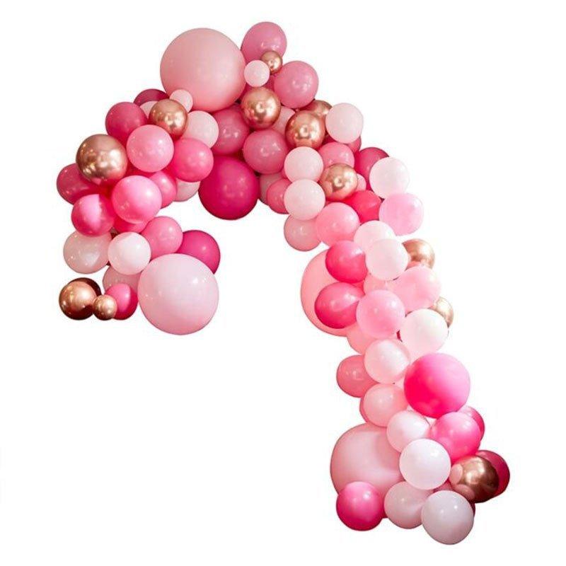 Guirlande ballons Rose et Rose Gold