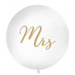 """Ballon Géant """"Mrs"""" Blanc & Doré - 1M"""