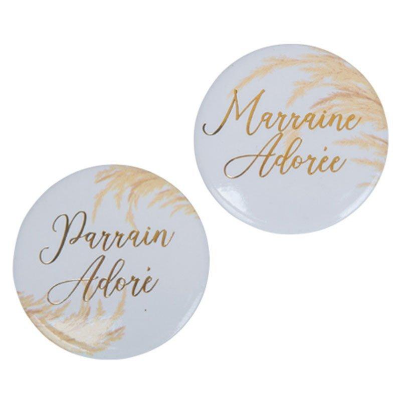 """Badges feuillage """"Parrain/Marraine"""" (x2)"""