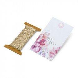 Etiquettes dessin fleuri et cordelette or (x12)