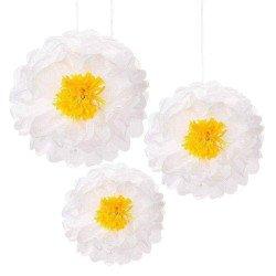 Pompons fleurs marguerite (x3)