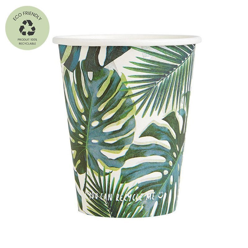 """Gobelets """"Feuilles Tropicale"""" (x8)"""