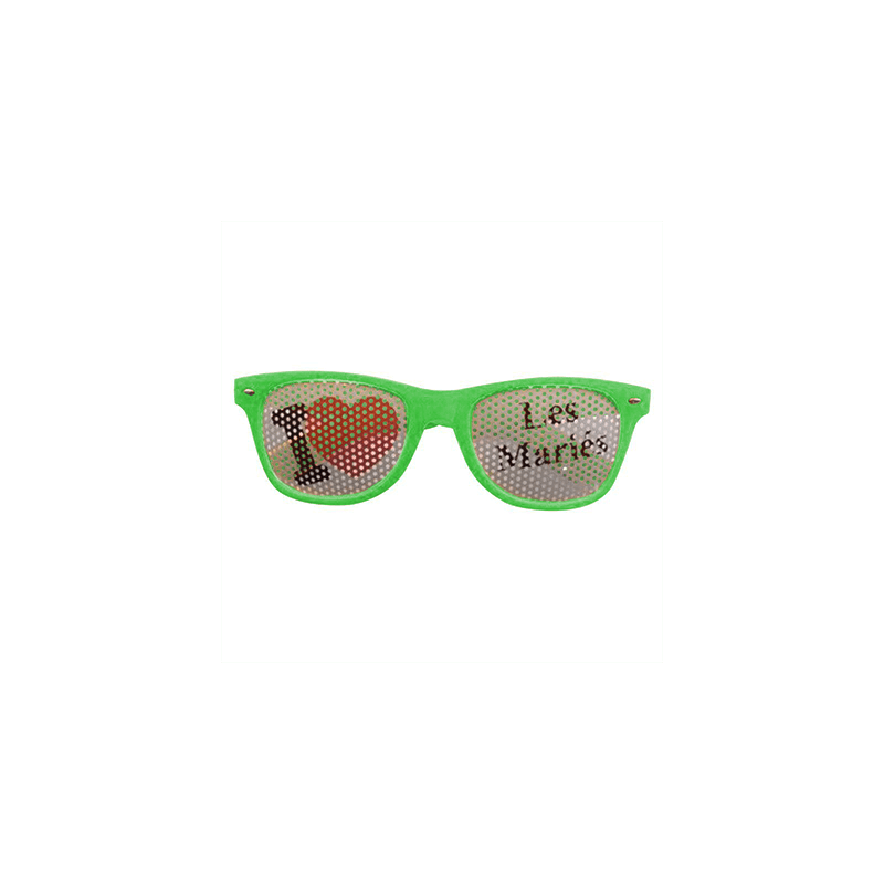 Lunettes Fun J'aime Les mariés vert pomme
