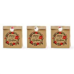 Pochettes cadeaux de Noël kraft (x3)