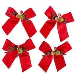 Nœuds de Noël velours et paillettes (x4)