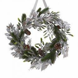 Couronne de Noël feuillage argenté - 40 cm