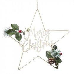 Couronne de Noël étoile dorée - 35 cm