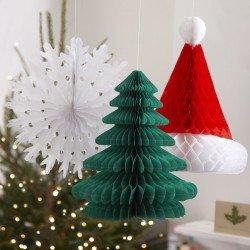 Décoration nids d'abeille Noël -3 articles