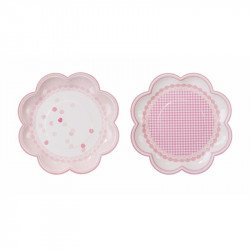 Assiettes vichy rose (x8)