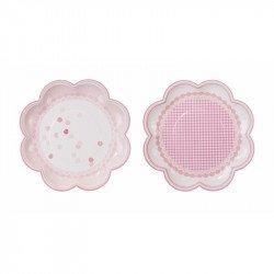 Assiettes fleurs rose (x8)