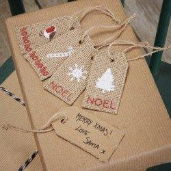Etiquettes de Noël en jute -8 unités