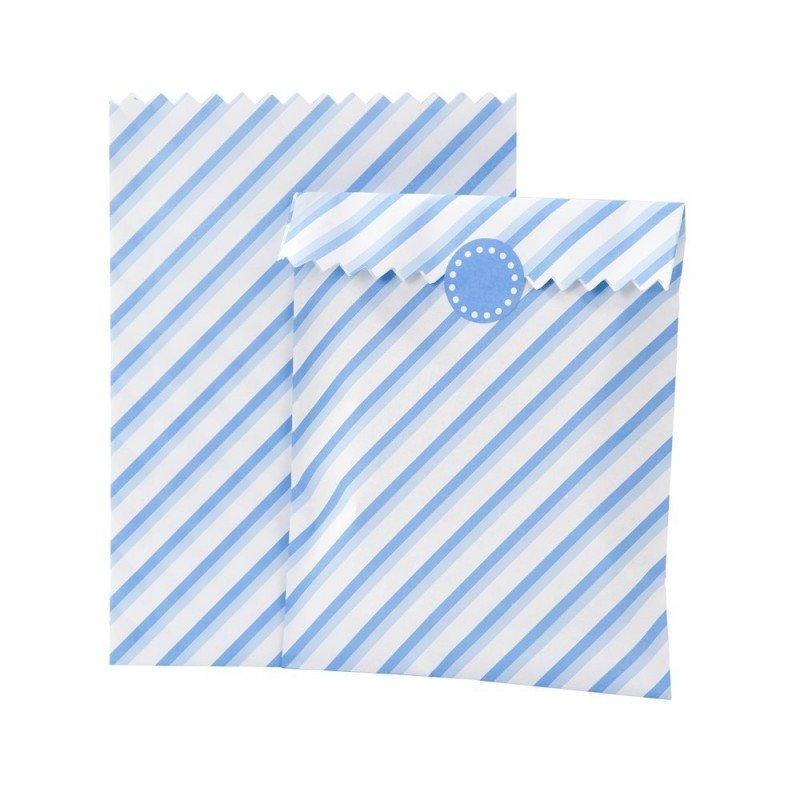 Sacs bonbons rayés bleu pastel (x10)