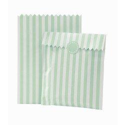 Sacs bonbons rayés menthe et blanc (x10)