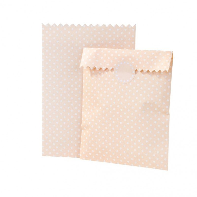 Sac à cadeaux rose à pois blanc (x10)