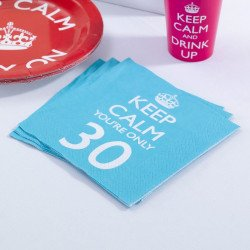 "Serviettes 30 ans ""keep calm you're only 30"""