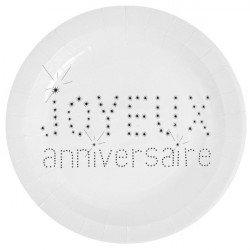 """Assiettes """"Joyeux anniversaire"""" -10 unités"""