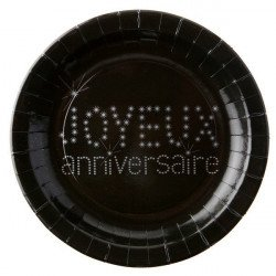 """10 assiettes """"Joyeux anniversaire"""" - Noir"""