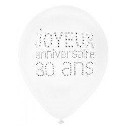 """Ballons """"Joyeux Anniversaire"""" 30 ans (x8)"""