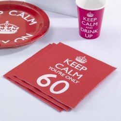 """20 Serviettes 60 Ans """"Keep Calm You're Only 60"""""""