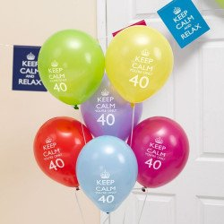 "Ballons 40 Ans ""Keep Calm You're Only 40"" -8 Unités"