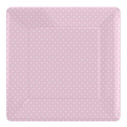 Assiettes carrées à petits pois (x8)