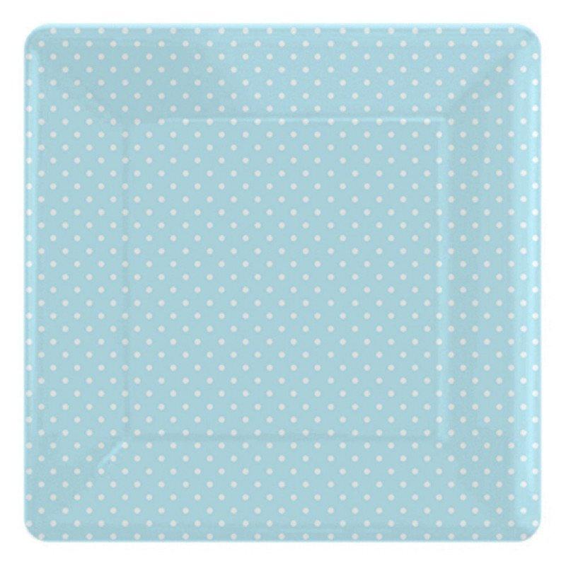 Assiettes carrées bleu à pois blanc (x8)
