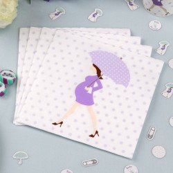 Serviettes baby shower purple - 20 unités
