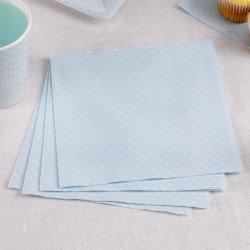Serviettes à pois rétro (x20) - Bleu ciel
