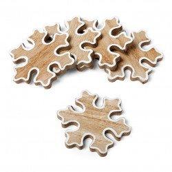 Flocons bois cérusé contour blanc (x5)