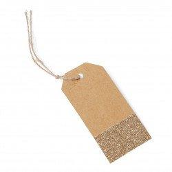étiquette kraft & cuivre pailette (x8)