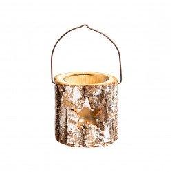 photophore forme buche bois motif étoile avec anse