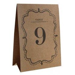 Marque-tables kraft de 1 à 10