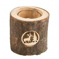 photophore forme buche motif cerf en bois 8 cm