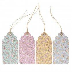 Étiquettes kraft fleurs et pastel (x12)