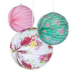 Lampions boules fleuris (x3)