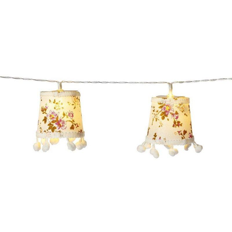 guirlande d'abats jour lumineux fleuris (x10)